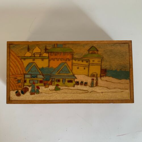 Vintage 1993 Wood Box Hand Carved Folk Art, Hinged Colorful City Village