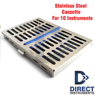 Dental Stainless Steel Sterilization Cassette Tray Rack Box For 10 Instruments