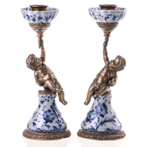 Candle Holder Angel Cherub 2/Set Porcelain Bronze Baroque Antique 20250