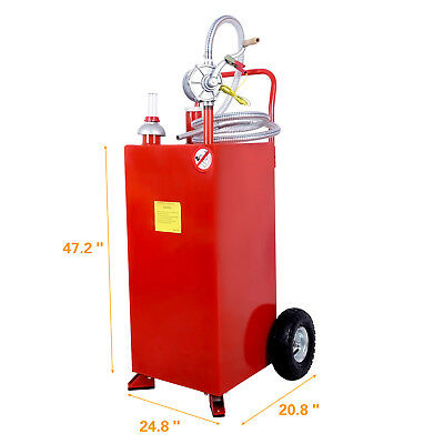 30 Gallon Gas Caddy Tank With Wheels Fuel Storage Gasoline Fluid Diesel New