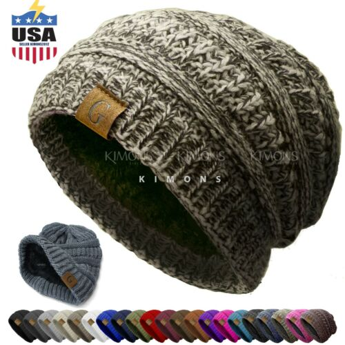 Unisex G Knit Slouchy Baggy Beanie Oversize Winter Hat Ski Slouchy Cap Solid men