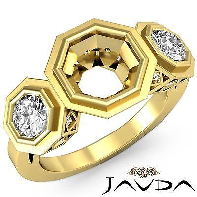 3 Stone Diamond Engagement Filigree Ring 18k Yellow Round Gold Semi Mount 0.85Ct