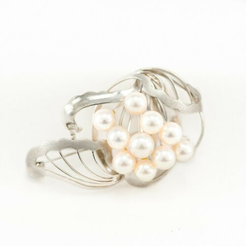 French Vintage Abstract Pearl Brooch - Sterling Silver