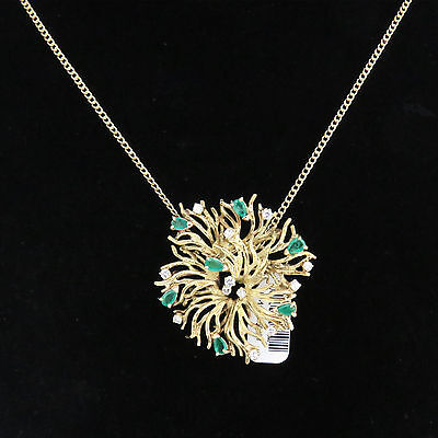 NYJEWEL 18k 10k Gold New Floral 2.75ct Emerald Diamond Pin Brooch Necklace