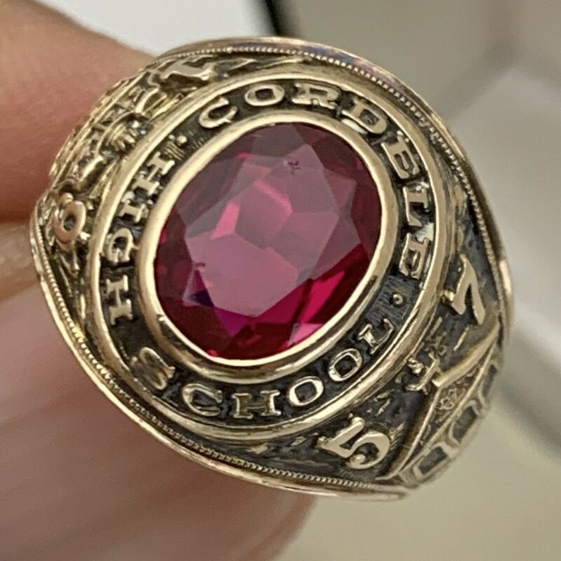 10K Gold High School Class Ring Vintage class of 1957 HJ10K 5.87g Red Gem Sz 5