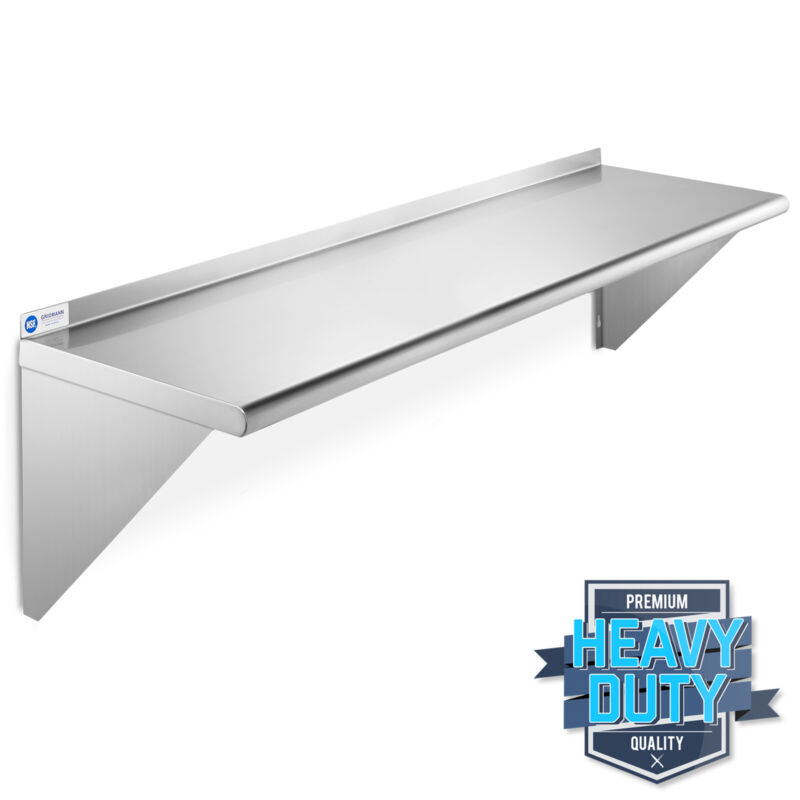 "Stainless Steel Commercial Kitchen Wall Shelf Restaurant Shelving - 14"" x 48"""