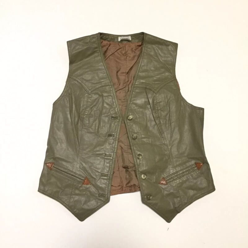 Kenny Rogers Western Collection by Robert Lewis Leather Vest Youth 16 Vintage