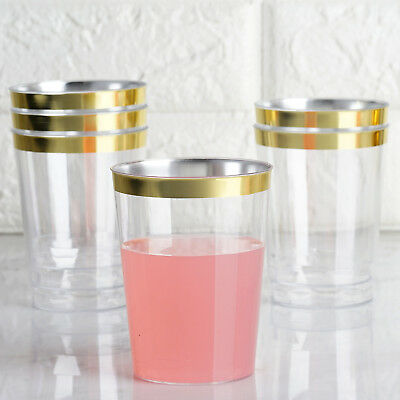 10 oz Disposable CLEAR with Gold Rim PLASTIC CUPS Wedding Party TABLEWARE - Gold Party Cups