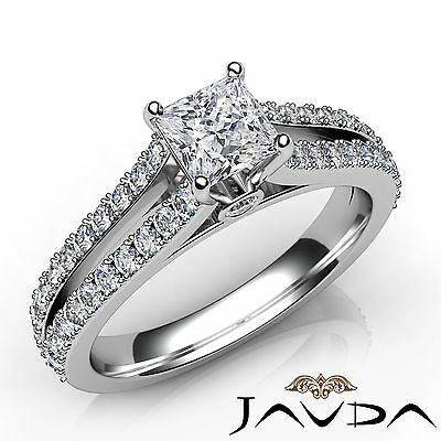 Split Shank French Pave Princess Diamond Engagement Bezel Ring GIA F VS1 1.37Ct
