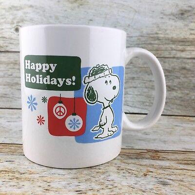PEANUTS SNOOPY 2012 HAPPY HOLIDAYS Coffee Cup Mug Christmas Ornaments EUC