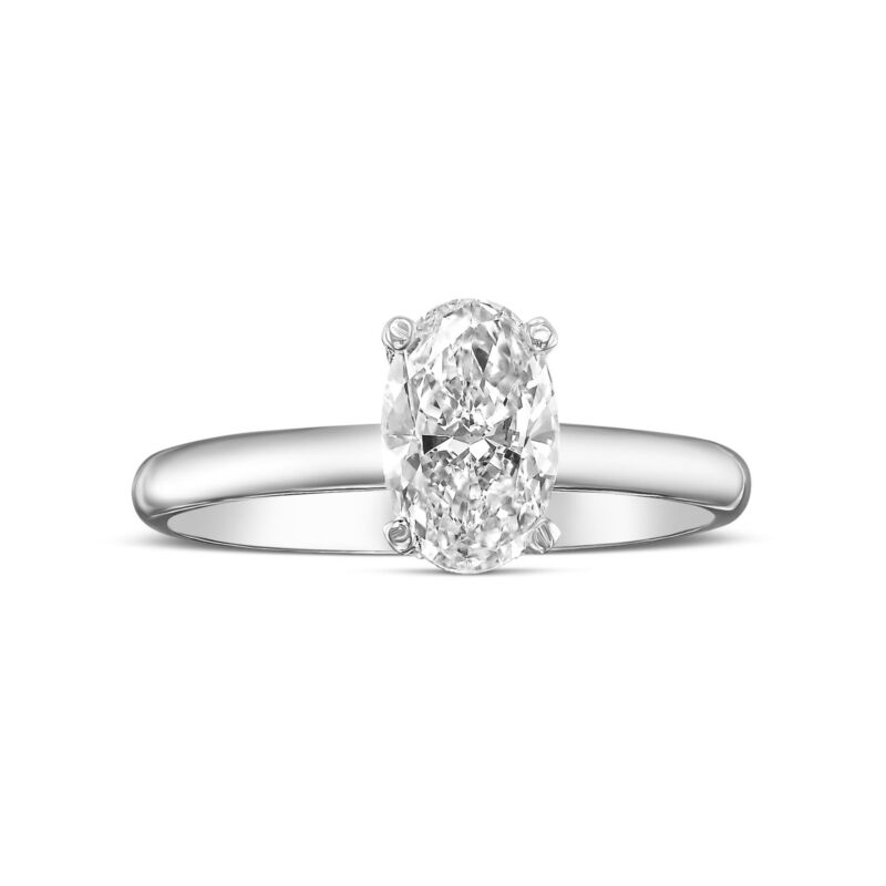 Oval Cut Genuine Diamond Engagement Ring 1.00 Carat D Vs1 14k White Gold Ladies
