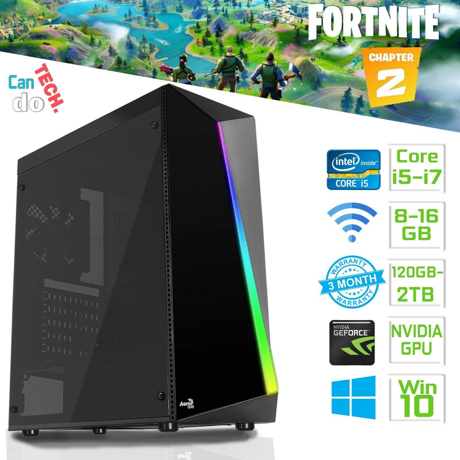 Computer Games - Gaming PC Core i7 3.40GHz 16GB RAM HDD SSD GTX 1650 4GB Windows 10 WIFI HDMI