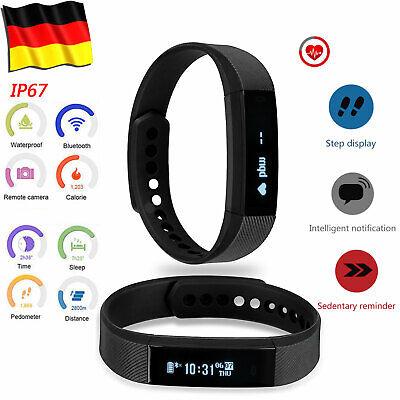 Smart Armband Uhr Bluetooth Fitness Tracker Schrittzähler Pulsuhr Kalorienzähler