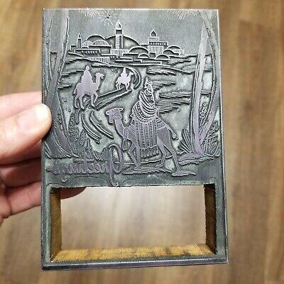 Vintage Letterpress Printing Block Christmas Greetings Bethlehem Wise Men Camels