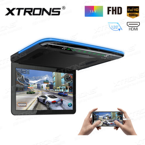 """13.3"""" Roof Mounted Player Overhead Monitor Large Screen Full HD 1080P Video HDMI"""