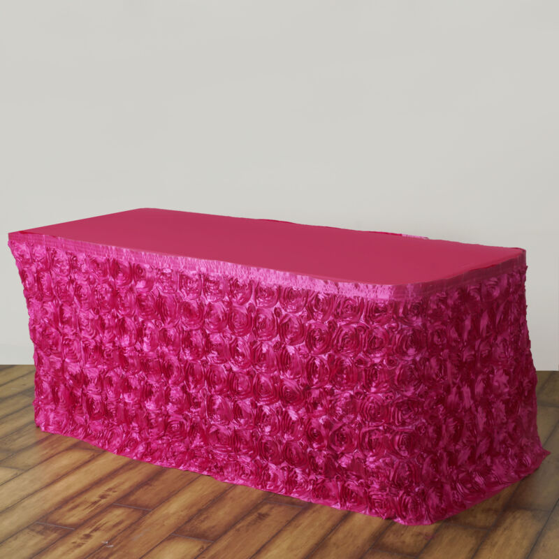 17 feet Fuchsia SATIN ROSES TABLE SKIRT Tradeshow Wedding Party Catering Supply