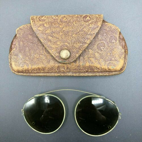 Vintage Antique Clip-On Green Glass Sunglasses and Leather Case