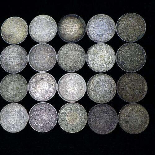 Lot of (20) INDIA BRITISH George VI 1940 - 1945 1/2 RUPEE SILVER COINS  XF-AU