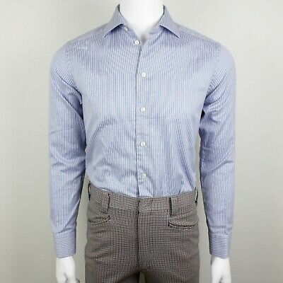 Eton Slim Fit Dress Shirt Mens 15.5 39 M White Blue Stripe Micro Dot Spread