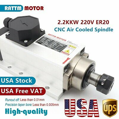Us2.2kw Square Air Cooling Spindle Motor Er20 4bearing 24000rpm For Cnc Router