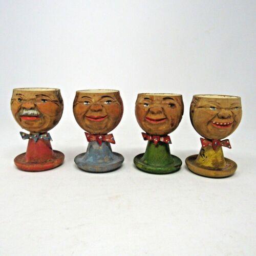 Vintage /Antique German Wooden Egg Cups Lot of 4 Men