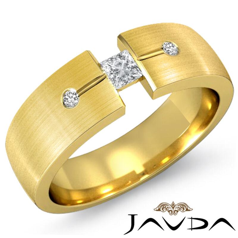 Mens Half Wedding Band 18k Yellow Gold Princess Round Cut Diamond 7mm Ring 0.3ct