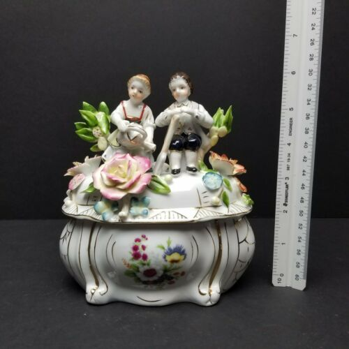 NEUNDORF Porcelain Children Boy Girl COVERED DISH Flowers Germany Lid Candy