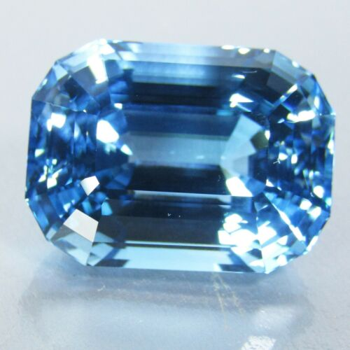 39.87Ct Stunning Natural Baby Blue Topaz 21x15.5m Emerald Cut Collection Ref VDO