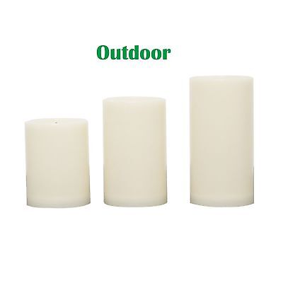 3 PCS Outdoor Flameless Candles with Timer, Realistic Flickering LED Pillar ()