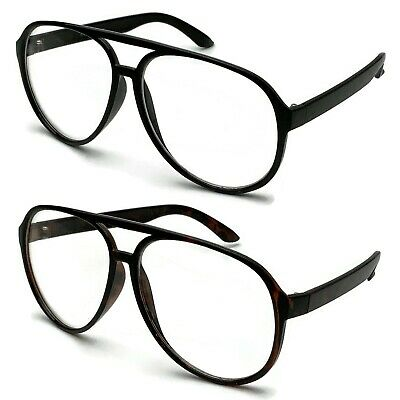 Extra Clear Lens (Retro Plastic Aviator Clear Lens Glasses Large Frame Nerd Vintage Style XL)