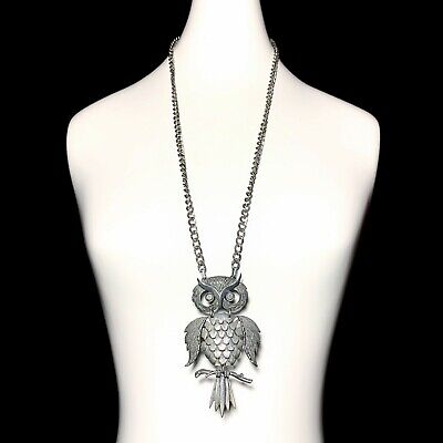 60s -70s Jewelry – Necklaces, Earrings, Rings, Bracelets Vintage 1960s Articulated OWL Statement Necklace Silver Tone Huge Mod 60s $39.54 AT vintagedancer.com