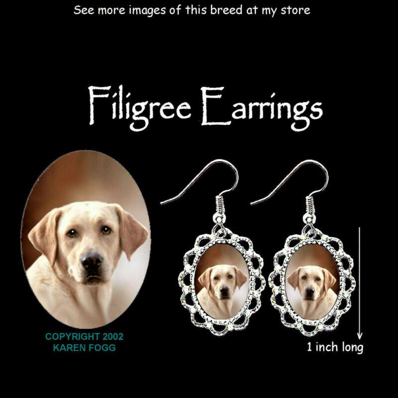 LABRADOR RETRIEVER DOG Yellow Light - SILVER FILIGREE EARRINGS Jewelry