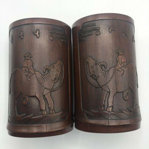 Vintage Asian Japan Or China Hand Carved Wood Cylinders Desk Vase Set
