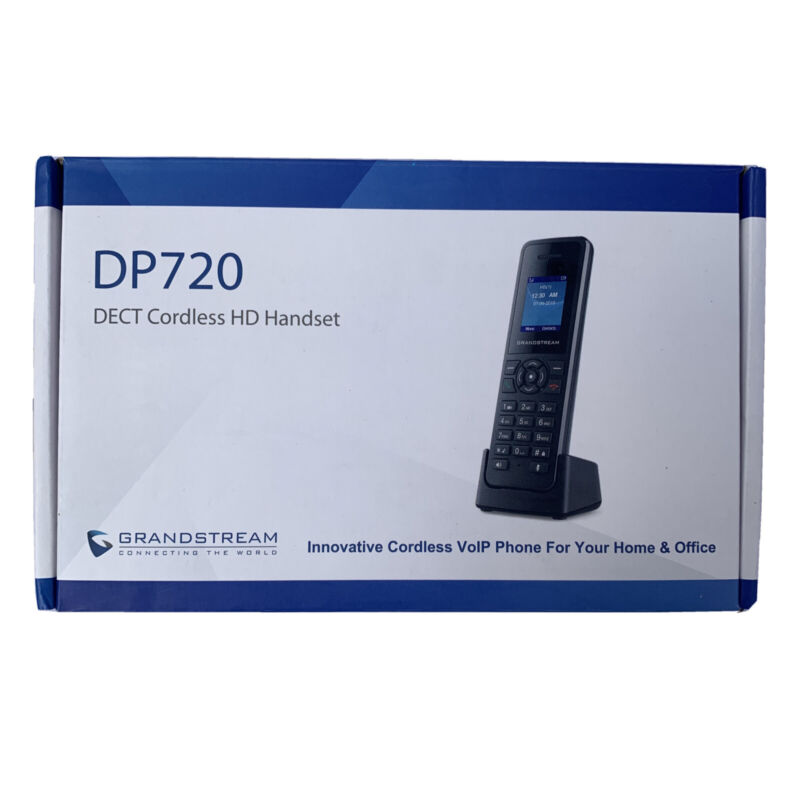 Grandstream DP720 DECT Cordless HD Handset - Black VolP Phone for Home or Office