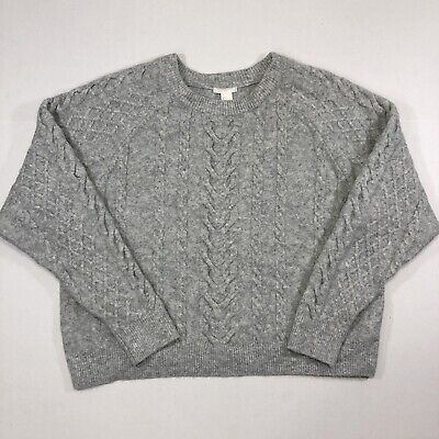 H&M Sweater Womens Size Large Wool Blend Cable Knit Gray Crew Neck