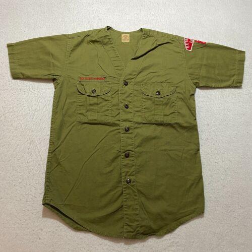 Vintage 60s Boy Scouts Of America Button Up Shirt Size S Green Sanforized Patch