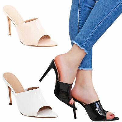 Scarpe donna sabot sandali a punta lucidi tacchi alti eleganti TOOCOOL S1677