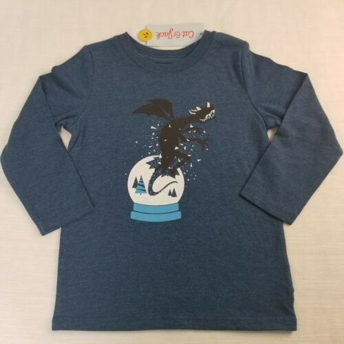 Boys' 3T Dragon Snow Globe Long Sleeve Toddler T-Shirt  Dark Blue by Cat & Jack
