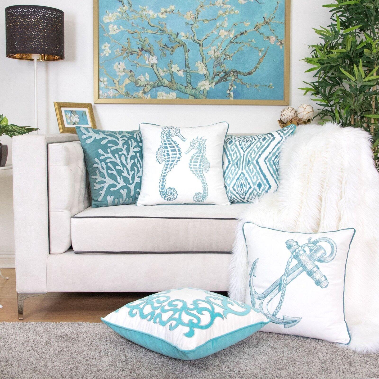 coastal throw pillow cover premium embroidery beach