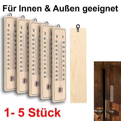 Thermometer Außen Innen Holz Außenthermometer Analog Raum Gartenthermometer Set