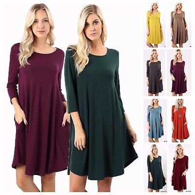 - Women's 3/4 Sleeve Trapeze Fit & Flare Round Hem Knit Dress Long Tunic Top S~3XL