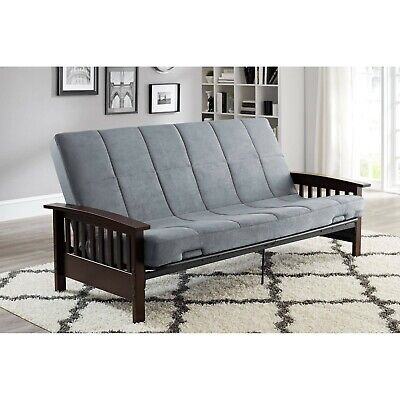 Wood Arms Futon Convertible Sofa Bed with Mattress Full Size Sleeper Metal -