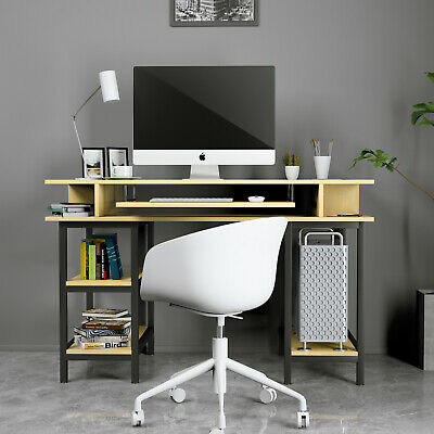 Wood Computer Desk Pc Laptop Table W Shelf Keyboard Tray For Home Office