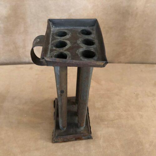 """Antique 9 x 3 x 5"""" Candle Mold metal Primitive 6 Tubes Candlestick Lancaster"""