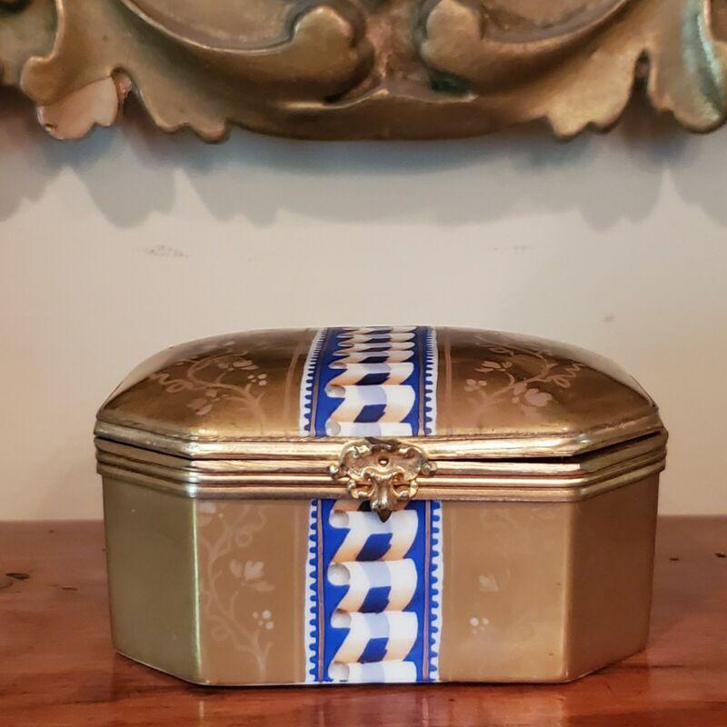 Antique French Sevres Trinket /Casket  Gilt Bronze Mounted Box