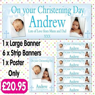 PERSONALISED PHOTO PARTY BANNERS CHRISTENING COMMUNION BAPTISM BANNER PACKS A014](Communion Banners)