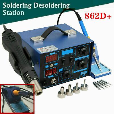 2 In 1 862d Smd Soldering Station Iron Hot Air Gun Rework Station Digital Tool