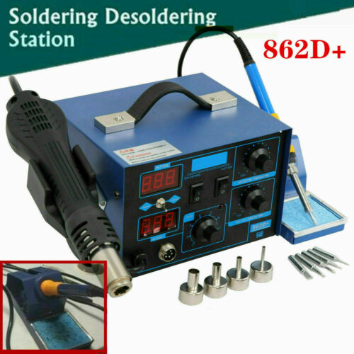 2 in 1 862D+ SMD Soldering Station Iron Hot Air Gun Rework Station Digital Tool