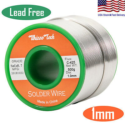 Solder Wire Lead Free Sn99.3 Cu0.7 with Rosin Core for Electronic 500g/1.1LB 1mm Business & Industrial
