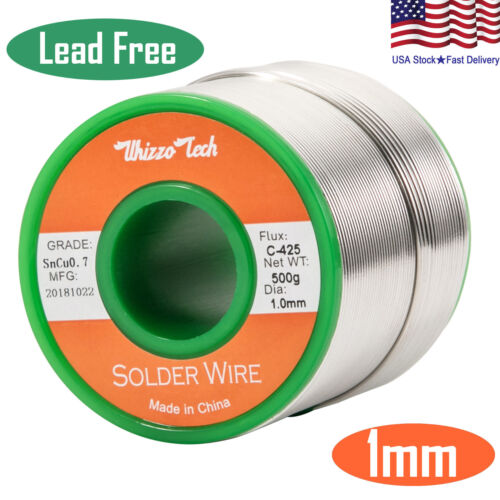 Solder Wire Lead Free Sn99.3 Cu0.7 with Rosin Core for Electronic 500g/1.1LB 1mm
